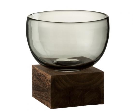 Vase Sur Pied Large Verre et Bois GM