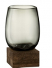 Vase sur Pied Haut Verre et Bois GM