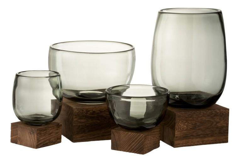 Vase Sur Pied Large Verre et Bois PM